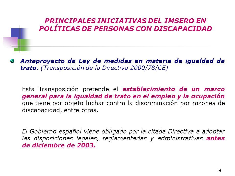 PRINCIPALES INICIATIVAS DEL IMSERO EN POLÍTICAS DE PERSONAS CON DISCAPACIDAD