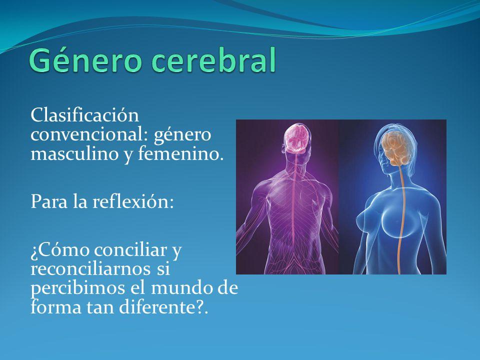 Género cerebral Clasificación convencional: género masculino y femenino. Para la reflexión: