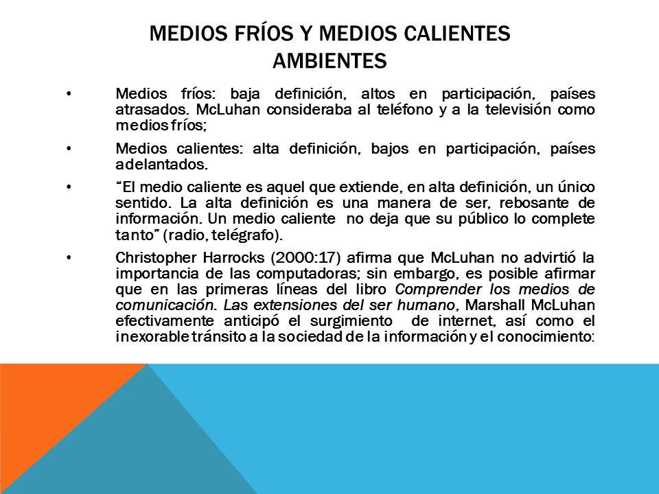 MEDIOS FRÍOS Y MEDIOS CALIENTES AMBIENTES