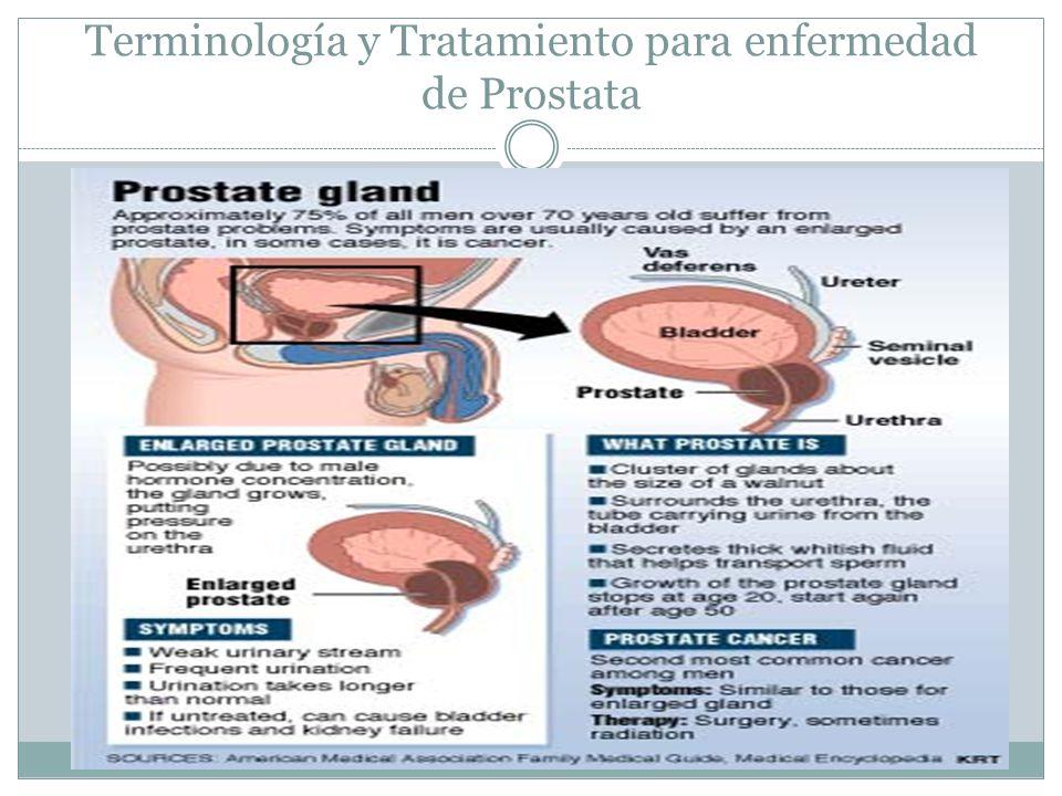 Terminología y Tratamiento para enfermedad de Prostata