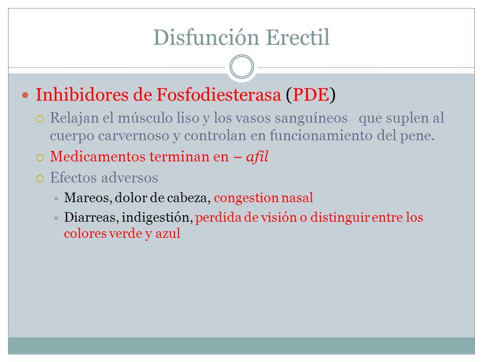 Disfunción Erectil Inhibidores de Fosfodiesterasa (PDE)