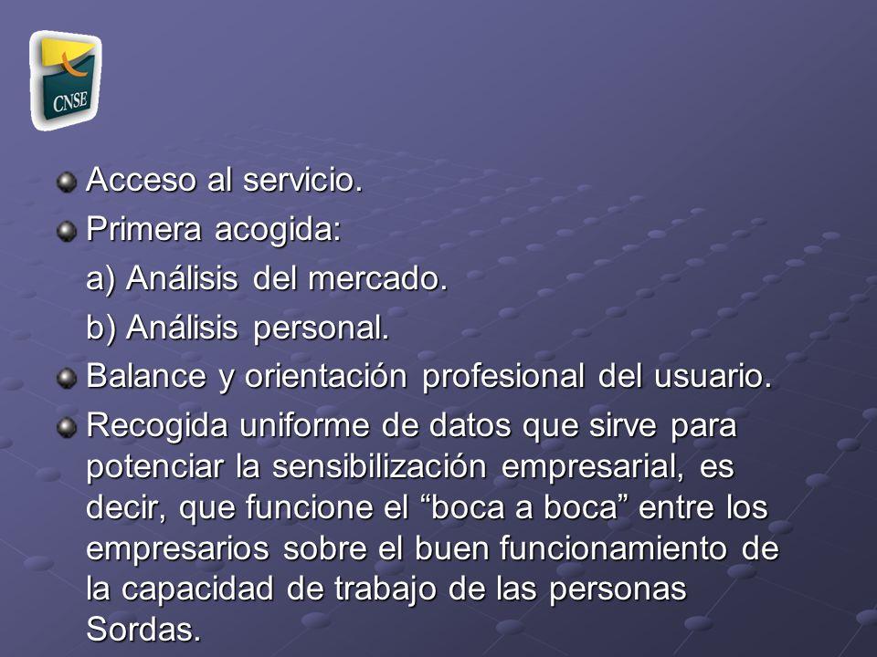 Acceso al servicio. Primera acogida: a) Análisis del mercado. b) Análisis personal. Balance y orientación profesional del usuario.