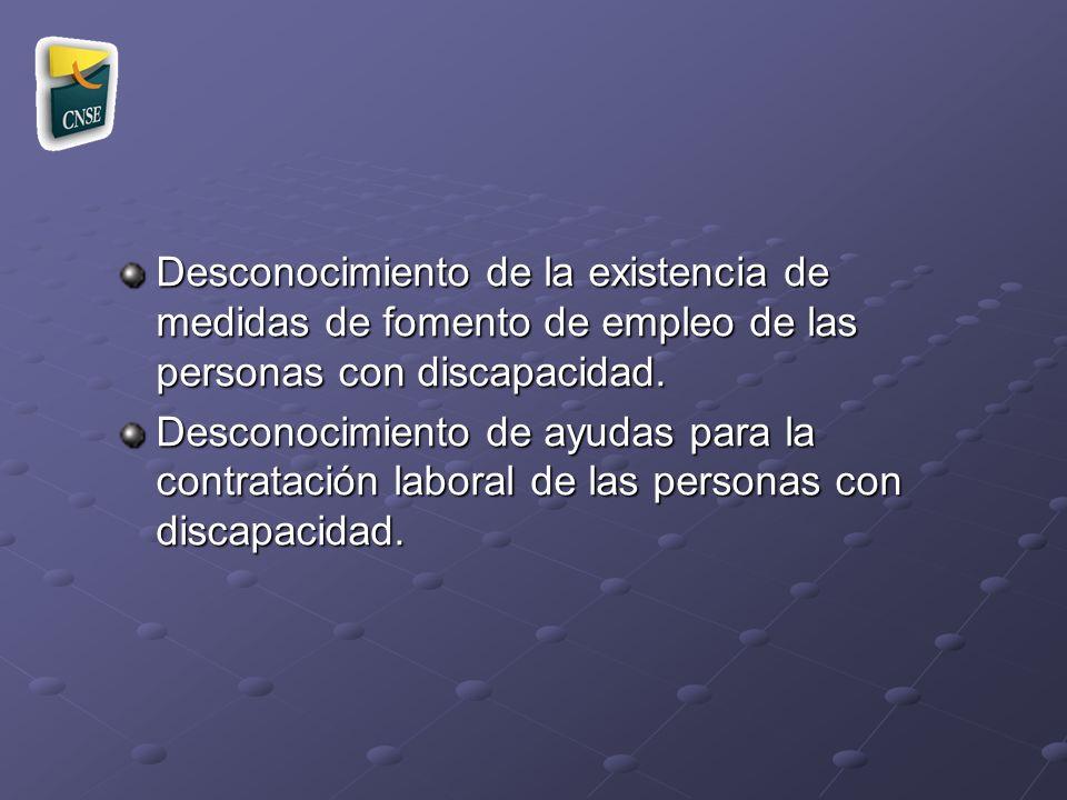 Desconocimiento de la existencia de medidas de fomento de empleo de las personas con discapacidad.