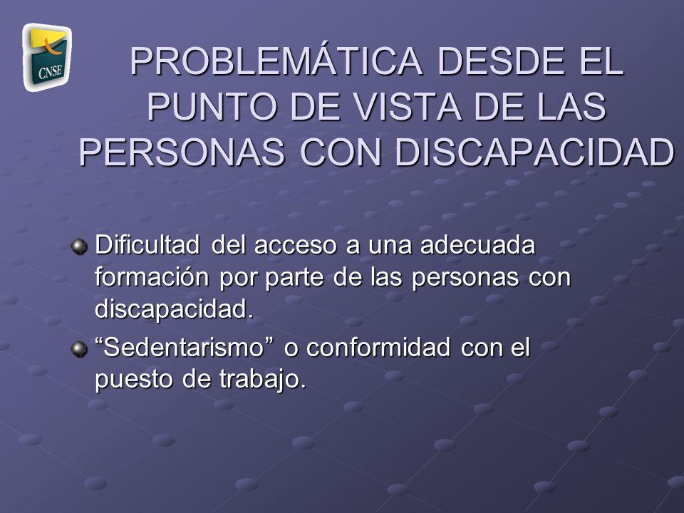 PROBLEMÁTICA DESDE EL PUNTO DE VISTA DE LAS PERSONAS CON DISCAPACIDAD