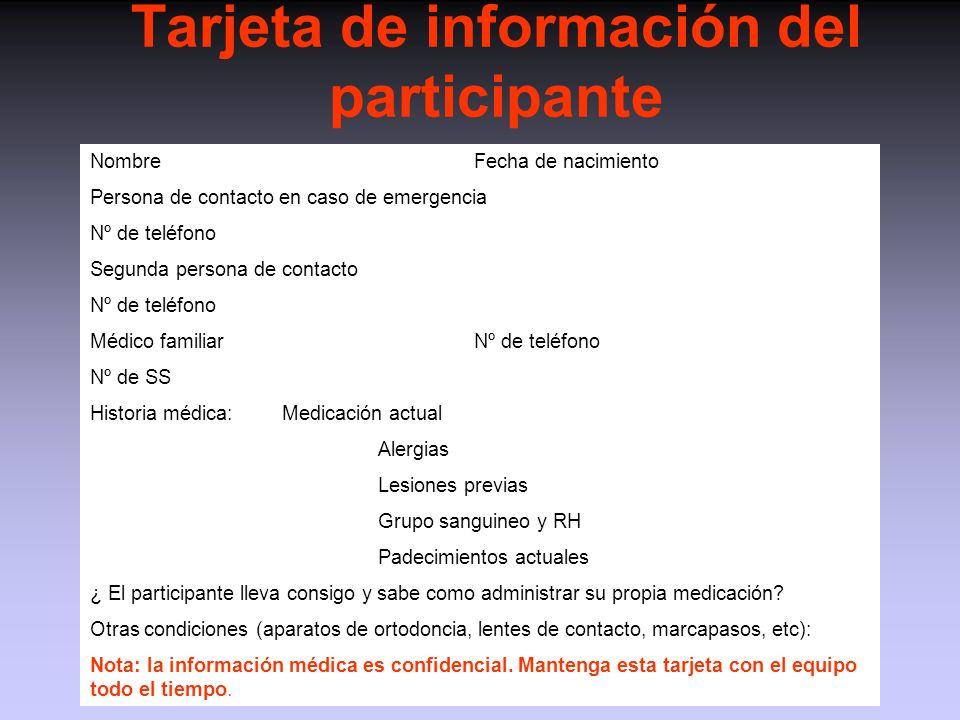 Tarjeta de información del participante