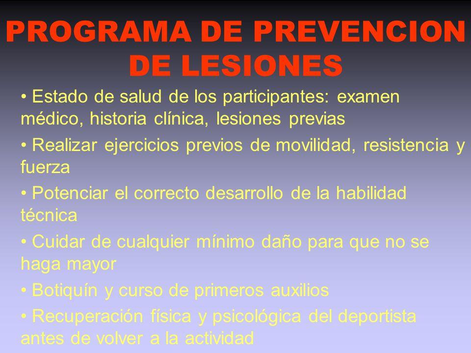 PROGRAMA DE PREVENCION DE LESIONES