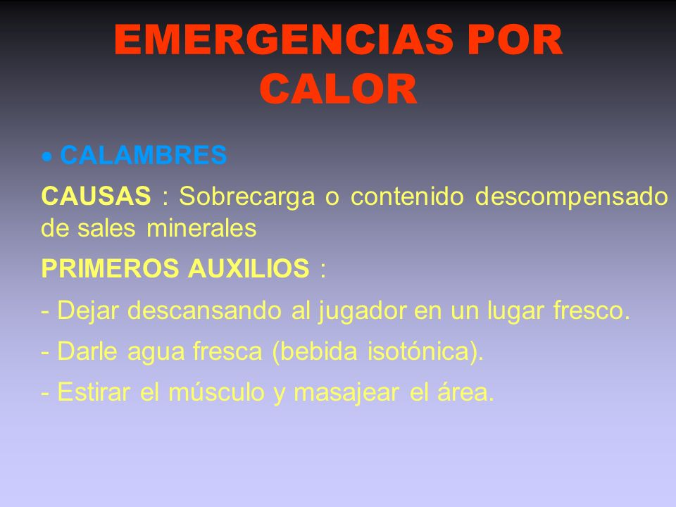 EMERGENCIAS POR CALOR  CALAMBRES