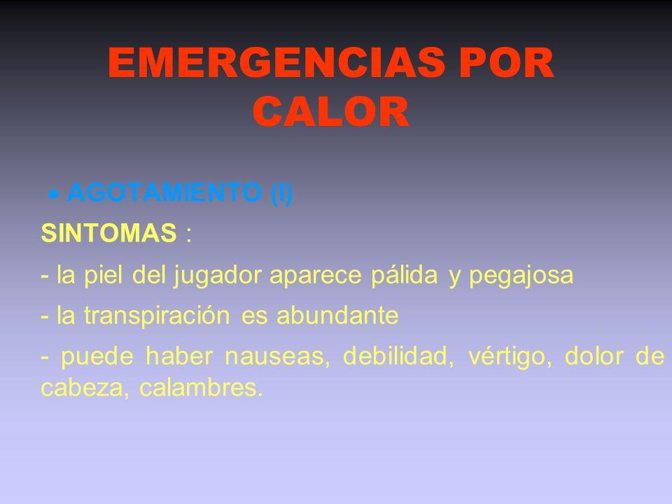 EMERGENCIAS POR CALOR  AGOTAMIENTO (I) SINTOMAS :