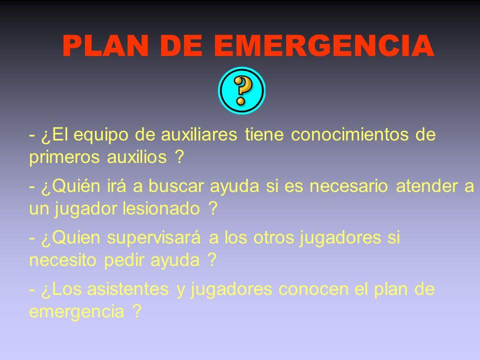 PLAN DE EMERGENCIA - ¿El equipo de auxiliares tiene conocimientos de primeros auxilios