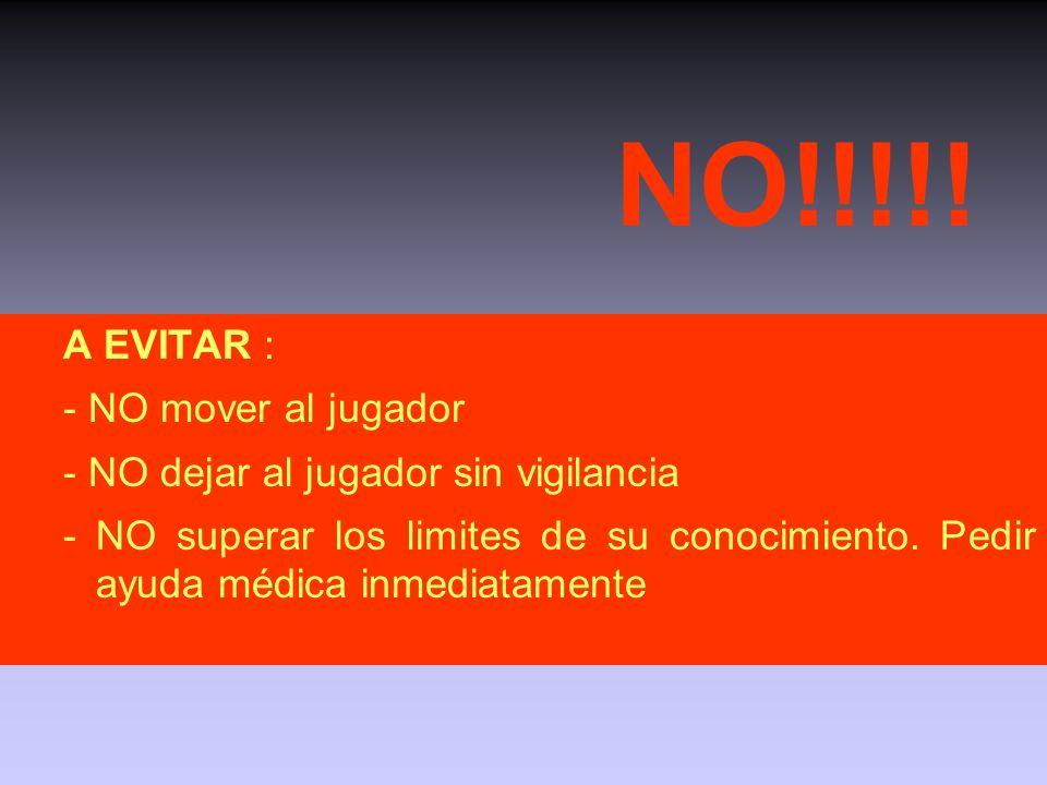 NO!!!!! A EVITAR : - NO mover al jugador