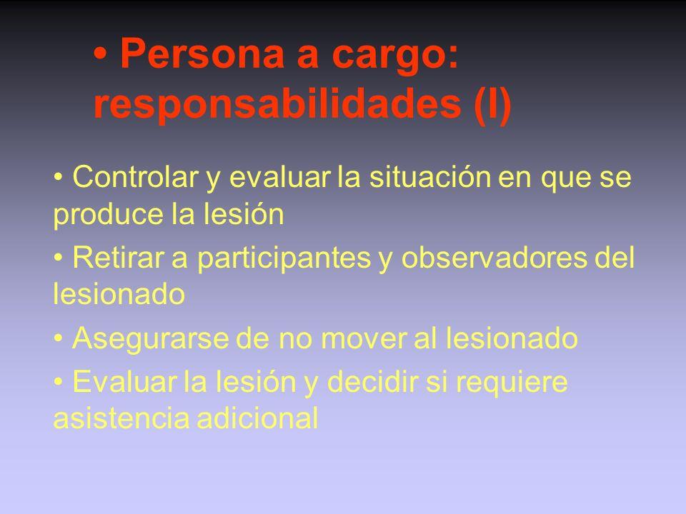 • Persona a cargo: responsabilidades (I)