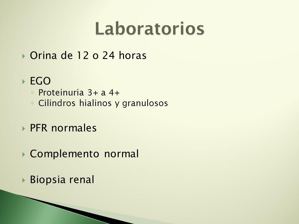 Laboratorios Orina de 12 o 24 horas EGO PFR normales