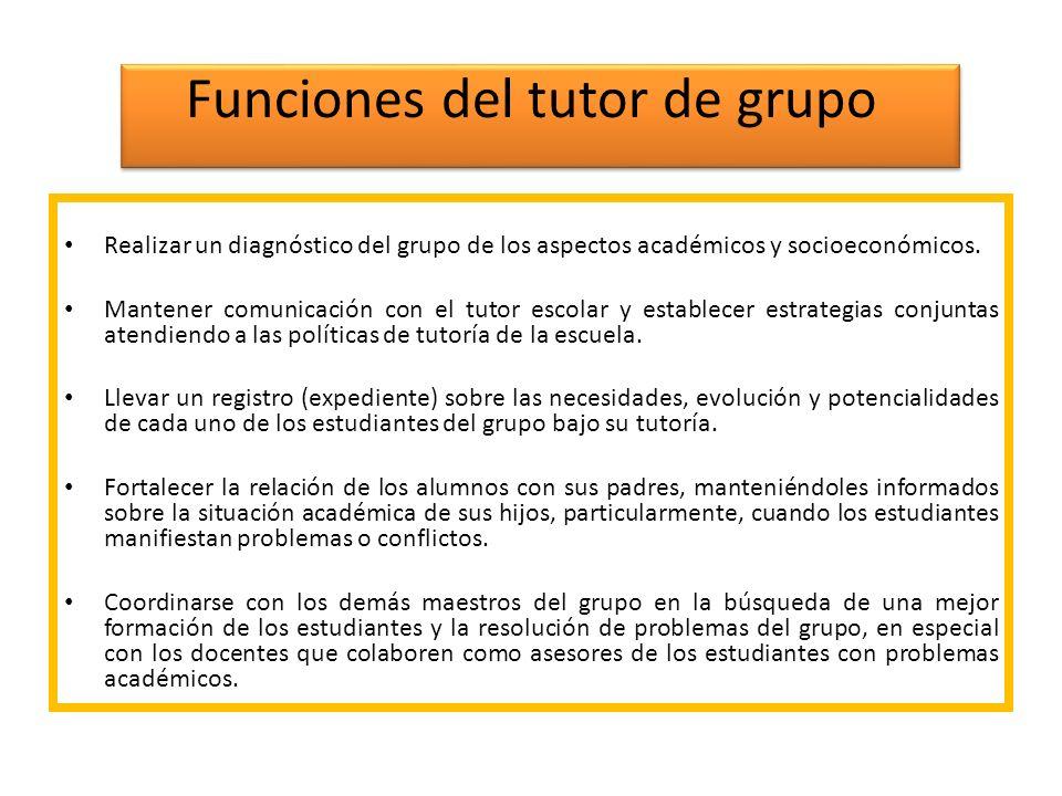 Funciones del tutor de grupo