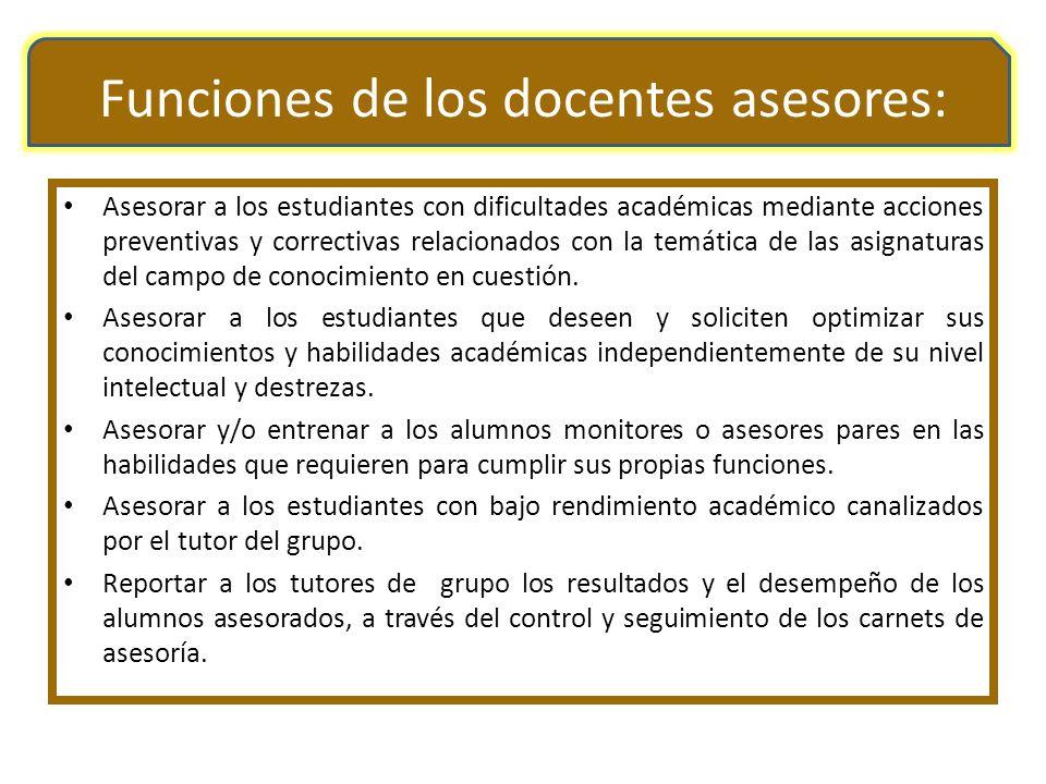 Funciones de los docentes asesores: