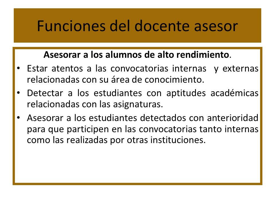 Funciones del docente asesor