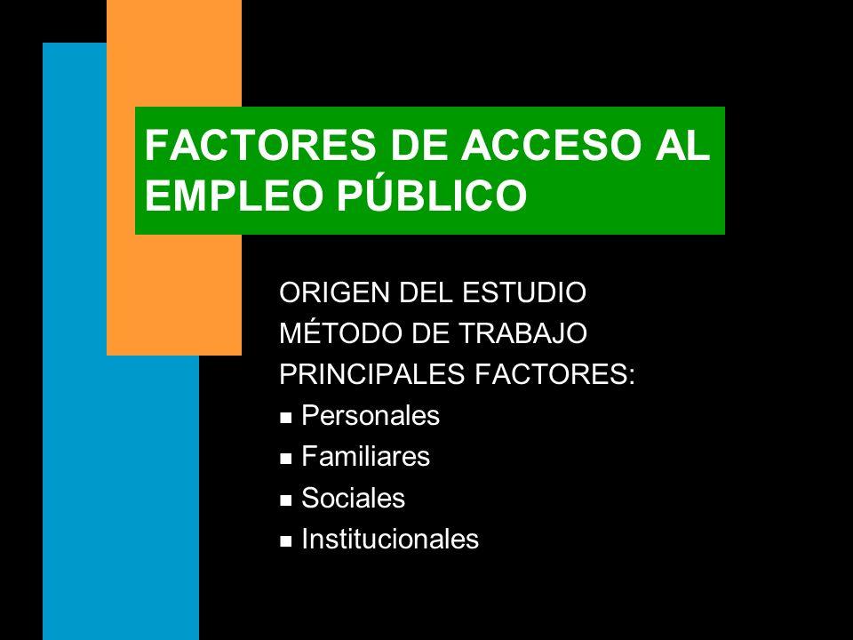 FACTORES DE ACCESO AL EMPLEO PÚBLICO