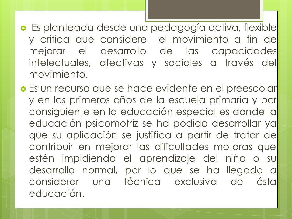 Es planteada desde una pedagogía activa, flexible y crítica que considere el movimiento a fin de mejorar el desarrollo de las capacidades intelectuales, afectivas y sociales a través del movimiento.