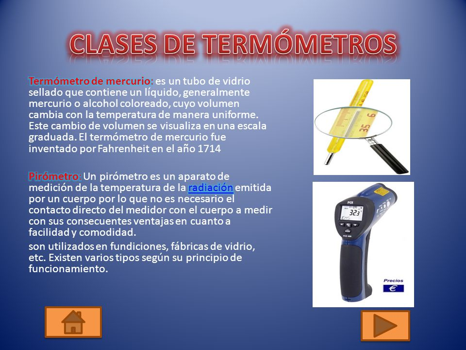 CLASES DE TERMÓMETROS