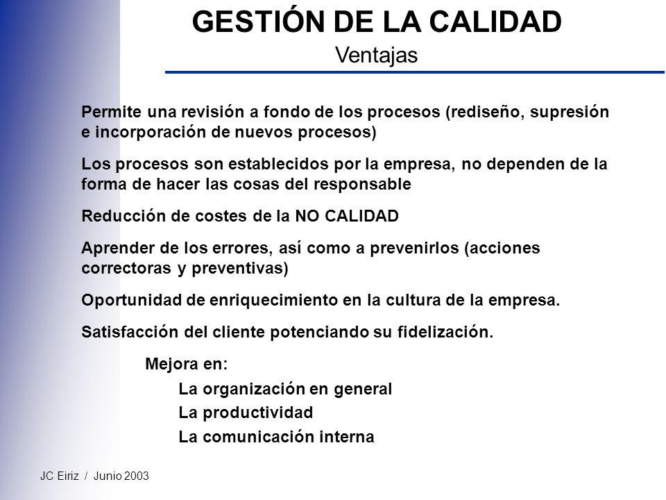GESTIÓN DE LA CALIDAD Ventajas