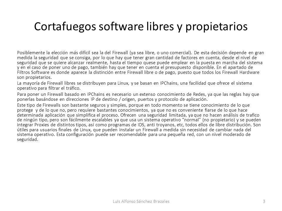 Cortafuegos software libres y propietarios