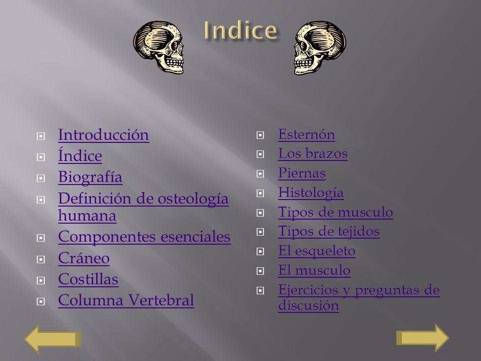 Indice Introducción Índice Biografía Definición de osteología humana