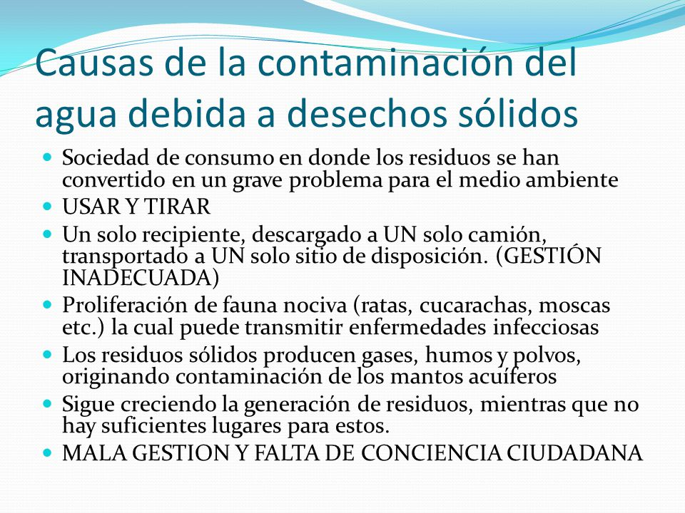 Causas de la contaminación del agua debida a desechos sólidos