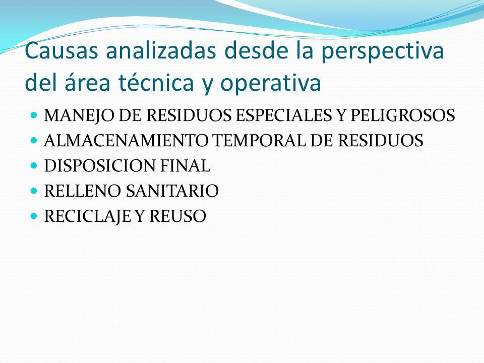 Causas analizadas desde la perspectiva del área técnica y operativa