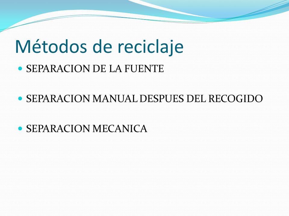 Métodos de reciclaje SEPARACION DE LA FUENTE