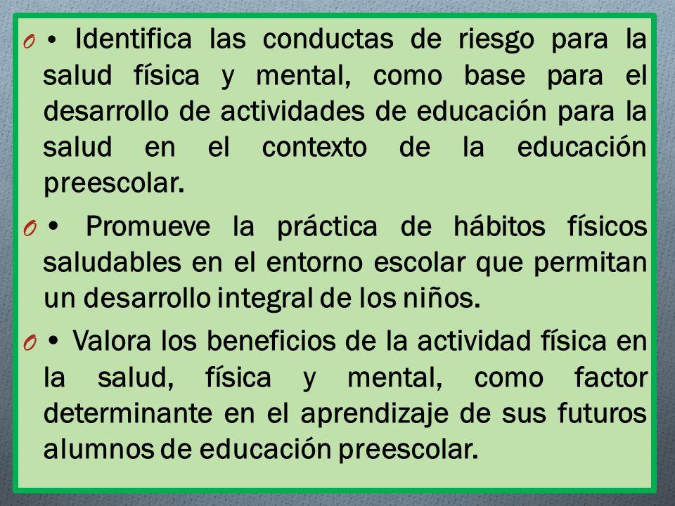 • Identifica las conductas de riesgo para la salud física y mental, como base para el desarrollo de actividades de educación para la salud en el contexto de la educación preescolar.