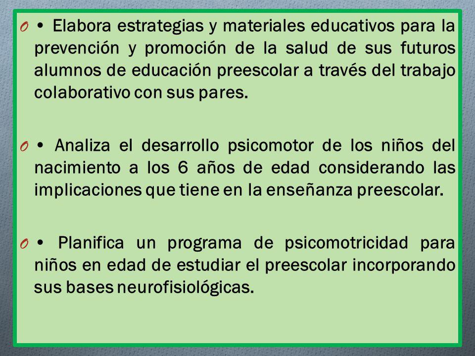 • Elabora estrategias y materiales educativos para la prevención y promoción de la salud de sus futuros alumnos de educación preescolar a través del trabajo colaborativo con sus pares.