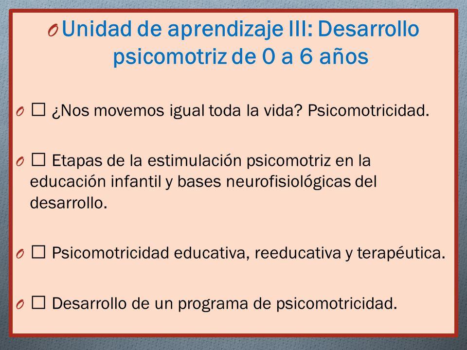 Unidad de aprendizaje III: Desarrollo psicomotriz de 0 a 6 años