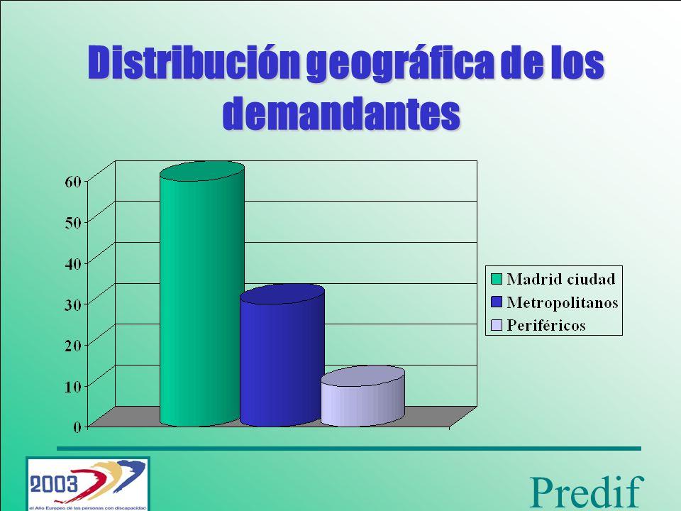 Distribución geográfica de los demandantes