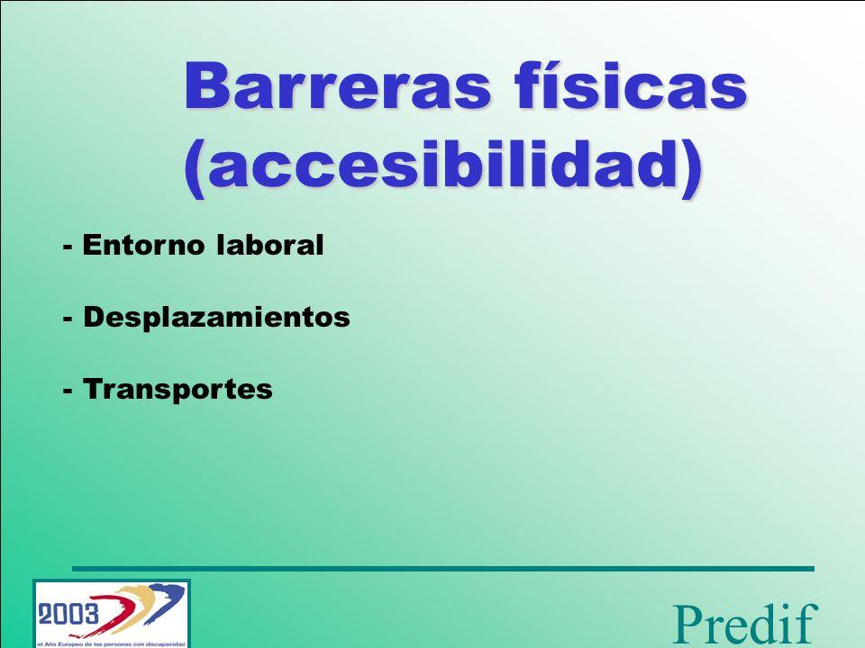 Barreras físicas (accesibilidad) - Entorno laboral Desplazamientos