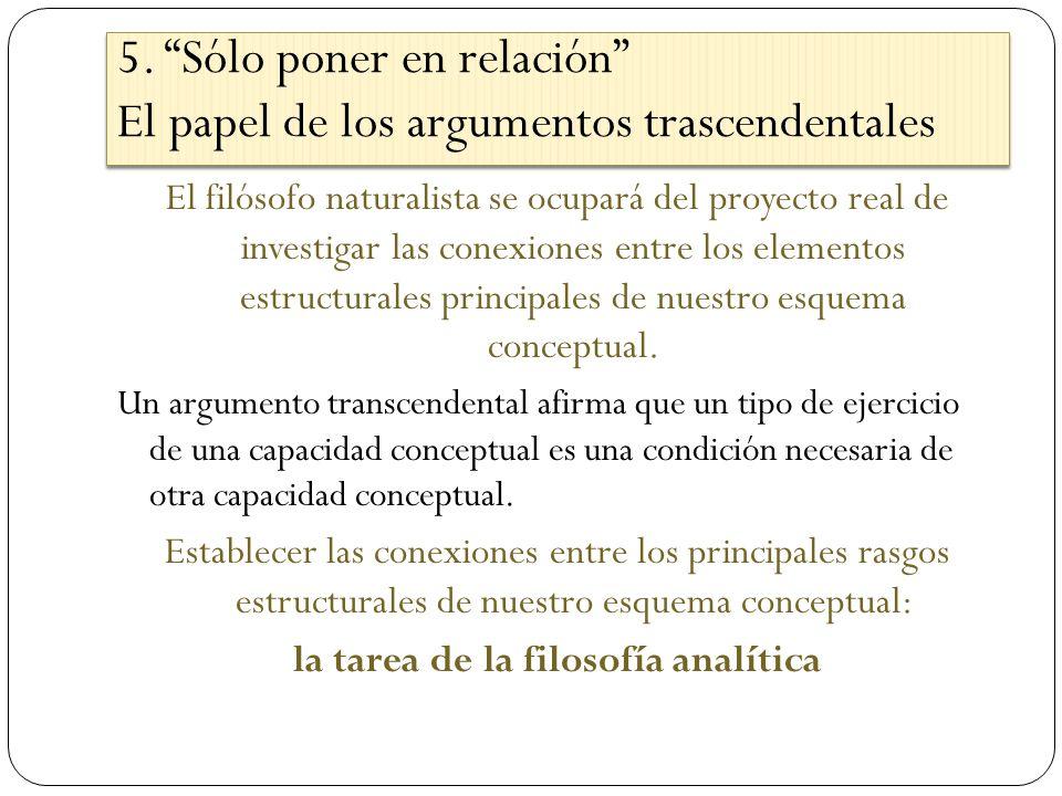 5. Sólo poner en relación El papel de los argumentos trascendentales