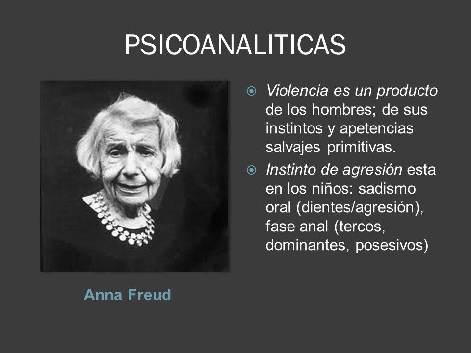 PSICOANALITICAS Violencia es un producto de los hombres; de sus instintos y apetencias salvajes primitivas.