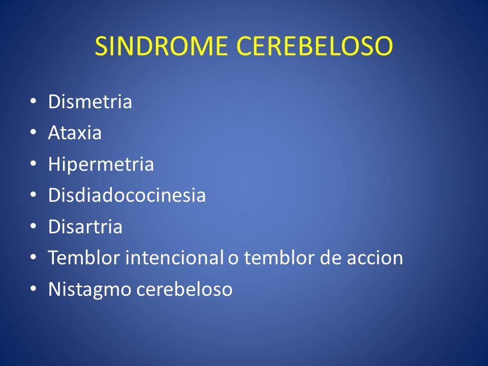 SINDROME CEREBELOSO Dismetria Ataxia Hipermetria Disdiadococinesia