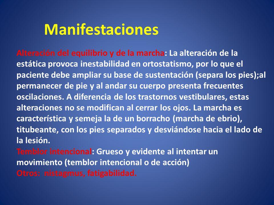 Manifestaciones Alteración del equilibrio y de la marcha: La alteración de la. estática provoca inestabilidad en ortostatismo, por lo que el.