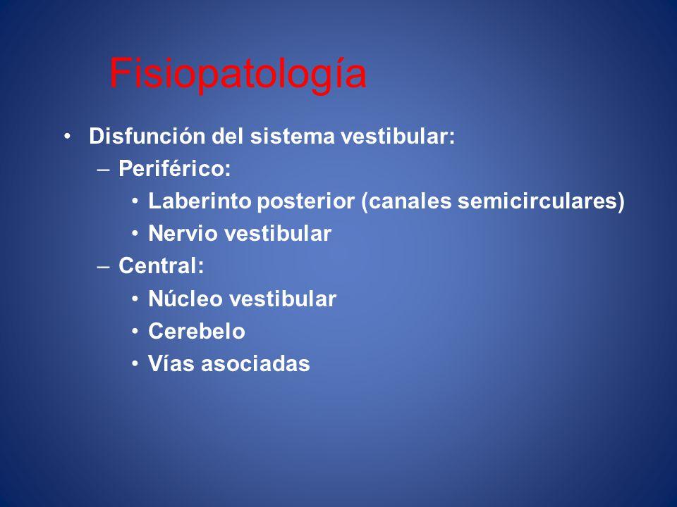 Fisiopatología Disfunción del sistema vestibular: Periférico: