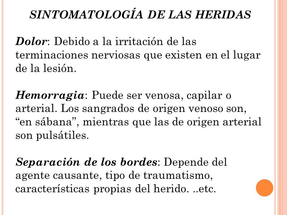 SINTOMATOLOGÍA DE LAS HERIDAS
