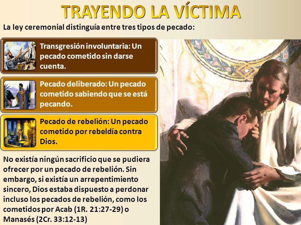 TRAYENDO LA VÍCTIMALa ley ceremonial distinguía entre tres tipos de pecado: Transgresión involuntaria: Un pecado cometido sin darse cuenta.