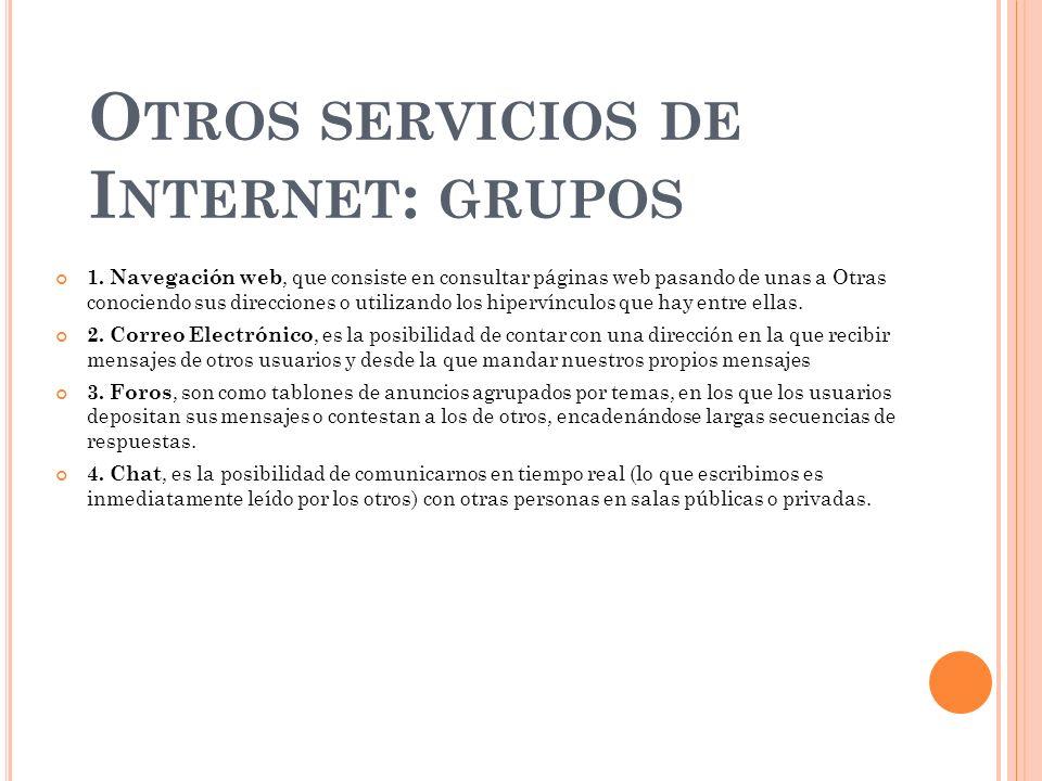 Otros servicios de Internet: grupos