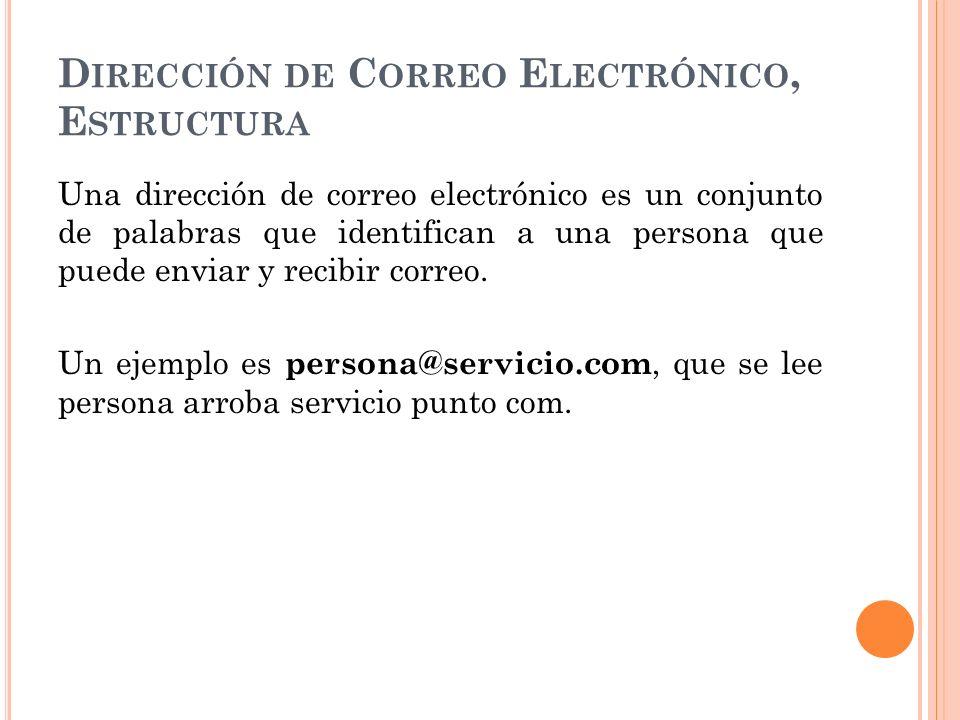 Dirección de Correo Electrónico, Estructura