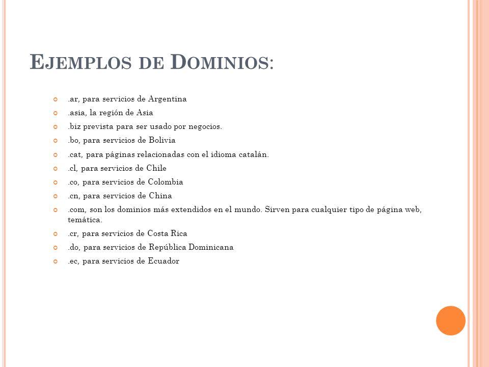 Ejemplos de Dominios: .ar, para servicios de Argentina