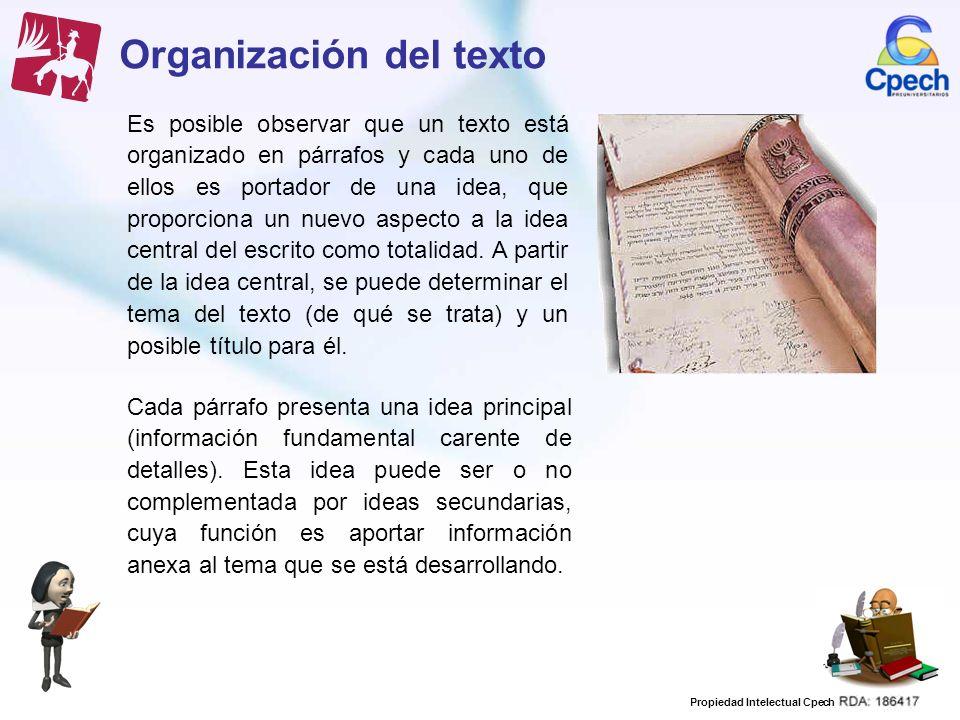 Organización del texto