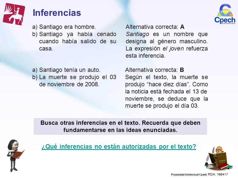 Inferencias ¿Qué inferencias no están autorizadas por el texto