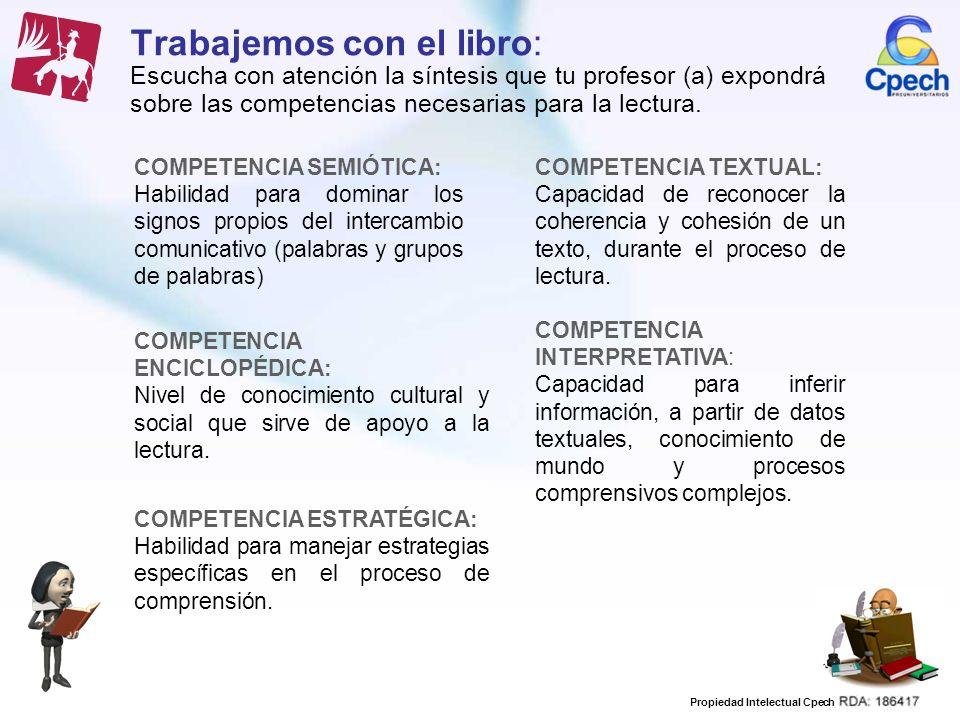 Trabajemos con el libro: Escucha con atención la síntesis que tu profesor (a) expondrá sobre las competencias necesarias para la lectura.