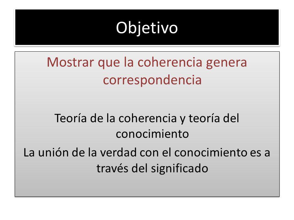 Objetivo Mostrar que la coherencia genera correspondencia