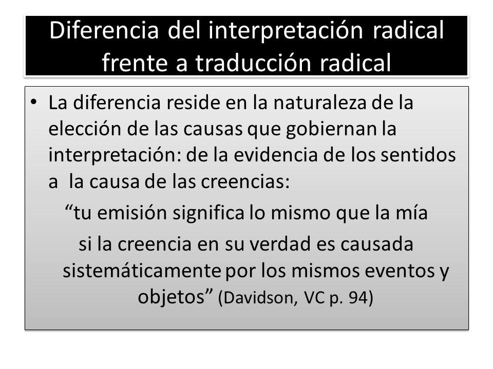 Diferencia del interpretación radical frente a traducción radical