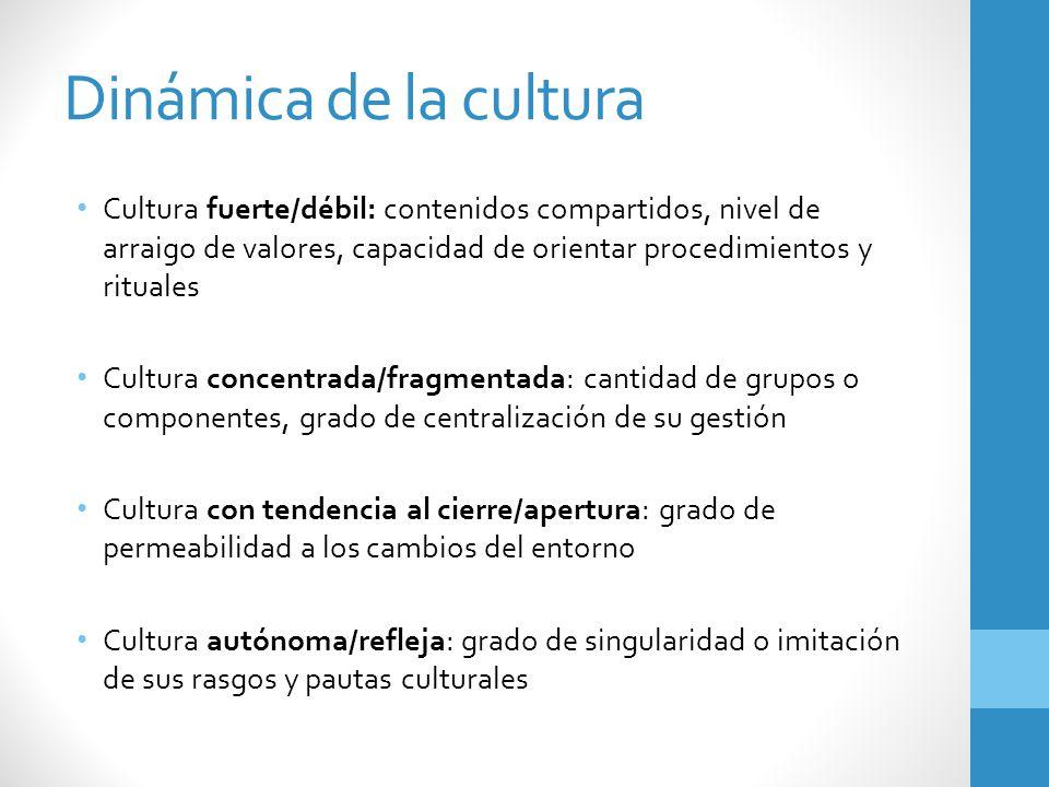 Dinámica de la cultura Cultura fuerte/débil: contenidos compartidos, nivel de arraigo de valores, capacidad de orientar procedimientos y rituales.