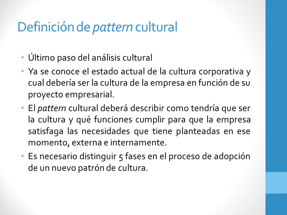 Definición de pattern cultural